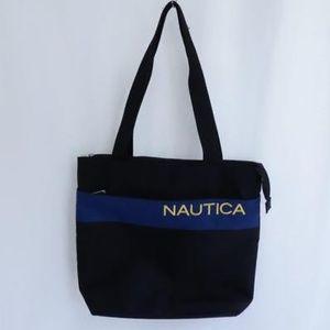 Nautica Logo Black Canvas Tote Shopping Bag
